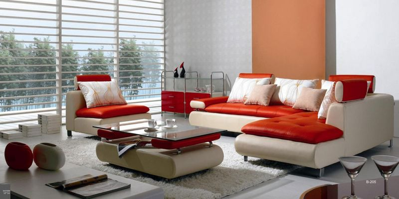 Divani Casa Modern White and Red Leather Living Room Set