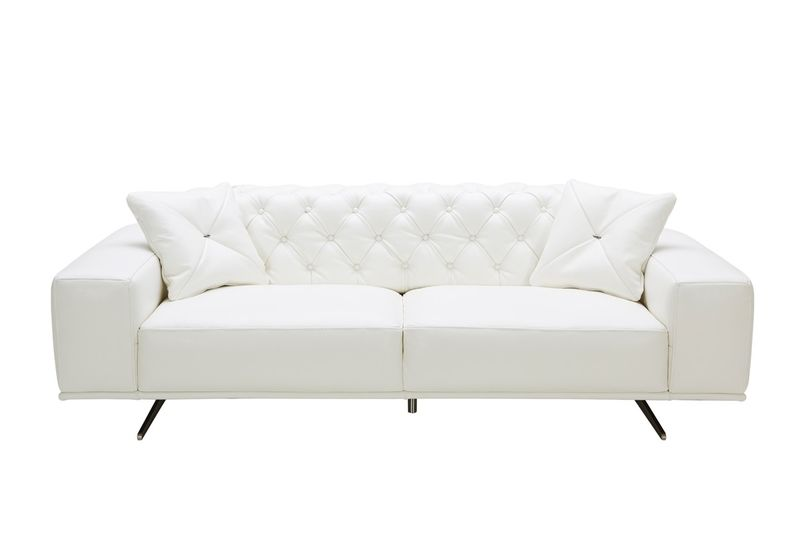 Divani Casa Bartlett Modern White Leather Sofa