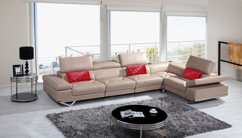 Divani Casa Modern Beige Italian Leather Sectional with Audio System