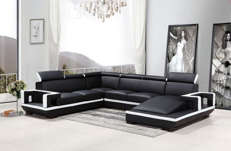 Divani Casa Modern Black and White Sectional