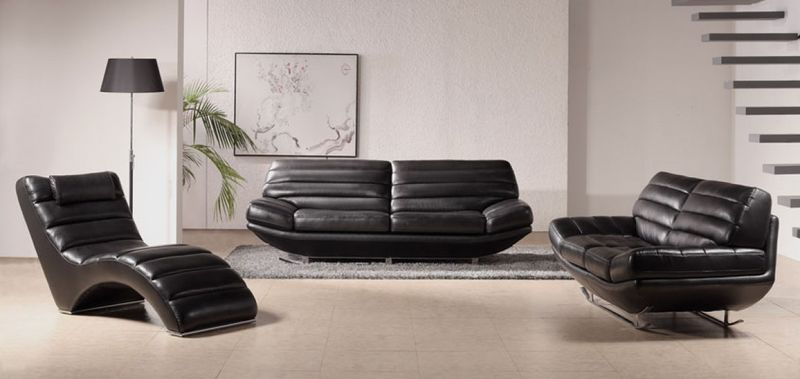 Divani Casa Boco Black Leather Sofa Set