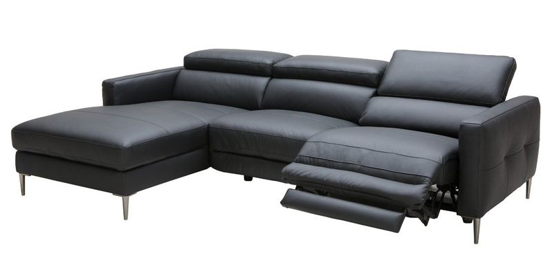 Divani Casa Booth Modern Black Leather Sectional with Recliner