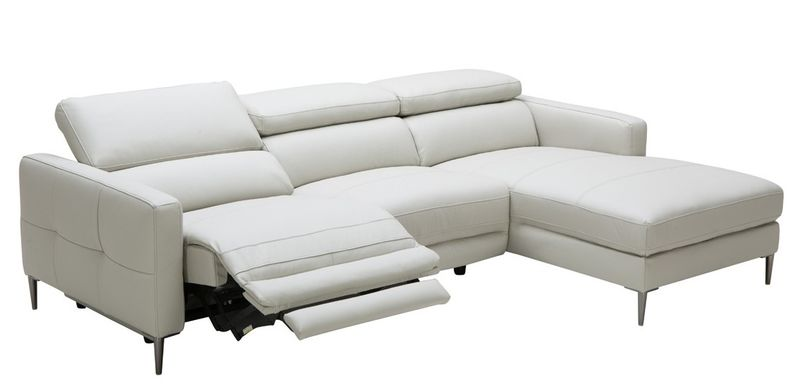 Divani Casa Booth Modern Light Grey Leather Sectional with Recliner