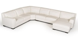 Divani Casa Brevard Modern White Leather Sectional