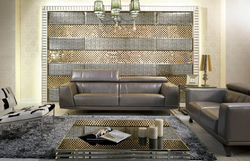 Divani Casa Brustle Modern Grey Leather Sofa Set