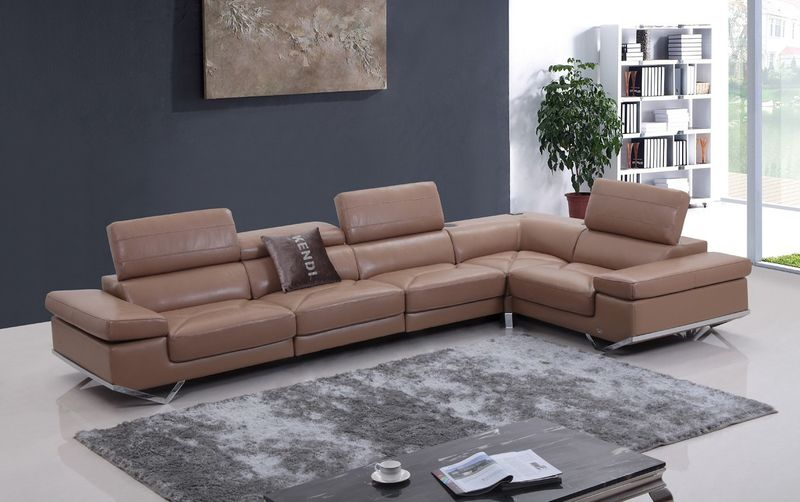 Divani Casa Modern Camel Italian Leather Sectional with Audio System