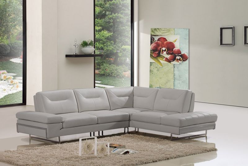 Divani Casa Carmel Taupe Italian Leather Sectional