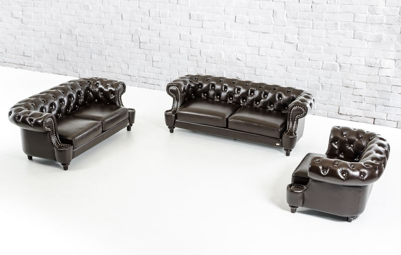 Divani Casa Chocolate Italian Leather Sofa Set