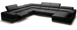 Divani Casa Chrysanthemum Modern Black Leather Sectional