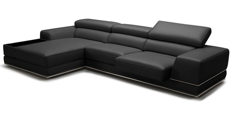 Divani Casa Chrysanthemum Mini Modern Black Leather Sectional Sofa