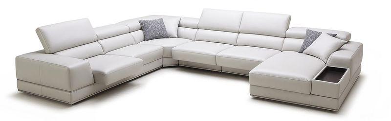 Divani Casa Chrysanthemum Modern White Leather Sectional