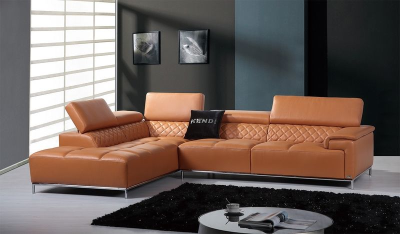 Divani Casa Citadel Modern Orange Italian Leather Sectional