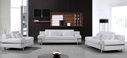 Divani Casa Clef Modern White Leather Sofa Set