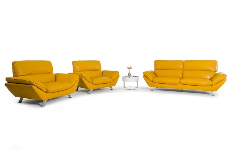 Divani Casa Daffodil Modern Yellow Italian Leather Sofa Set