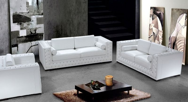 Divani Casa Dublin Crystal Tufted Modern White Leather Sofa Set ...