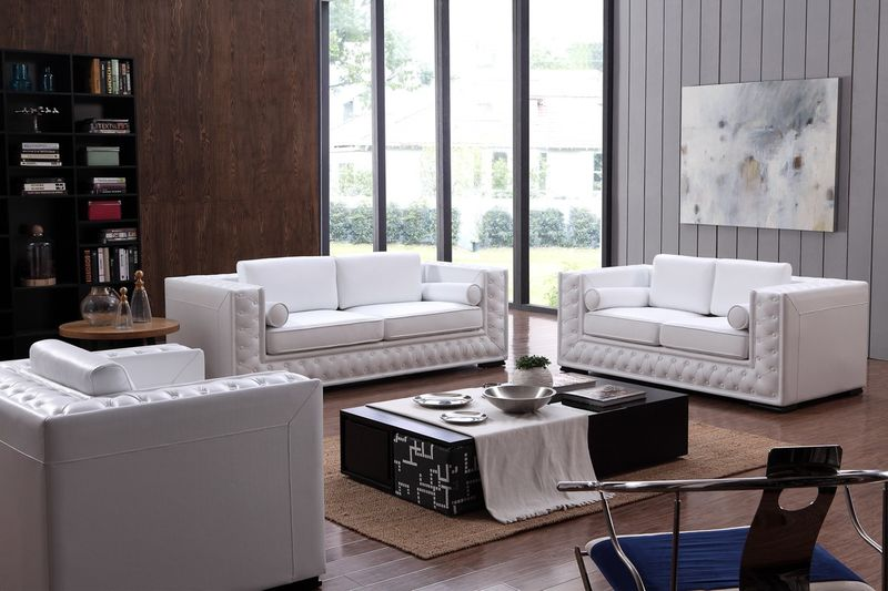 Divani Casa Dublin Modern White Leather Sofa Set