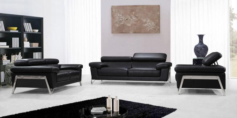 VIG | VG2T0724 Divani Casa Encore Modern Black Leather Sofa Set | Dallas  Designer Furniture