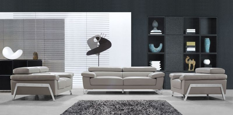 Divani Casa Encore Modern Grey Leather Sofa Set