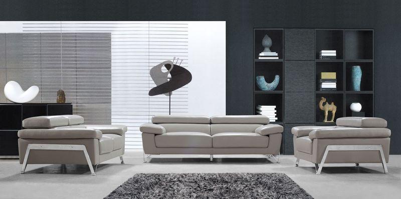 Divani Casa Encore Modern Grey Leather Sofa Set
