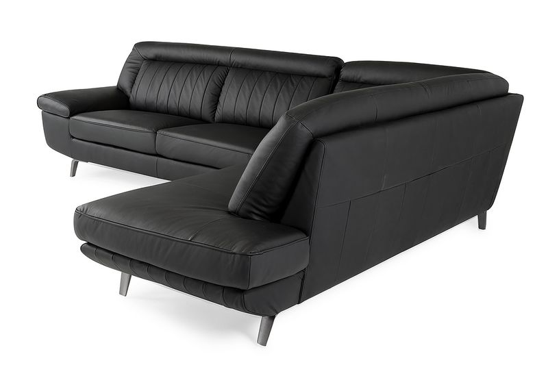Divani Casa Galway Modern Black Leather Sectional