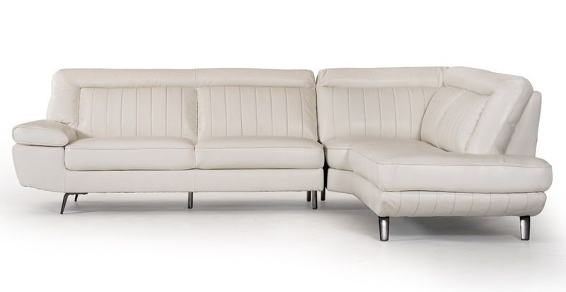 Divani Casa Galway Modern White Leather Sectional