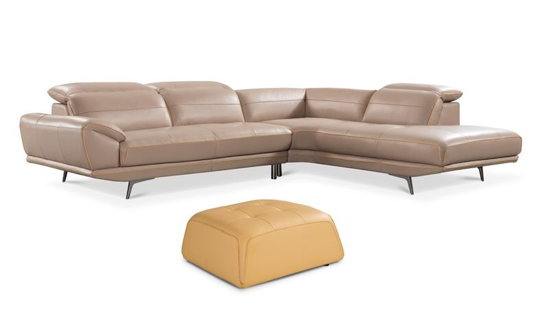 Divani Casa Granger Modern Taupe & Yellow Leather Sectional