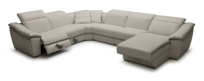 Divani Casa Jasper Light Grey Leather Sectional