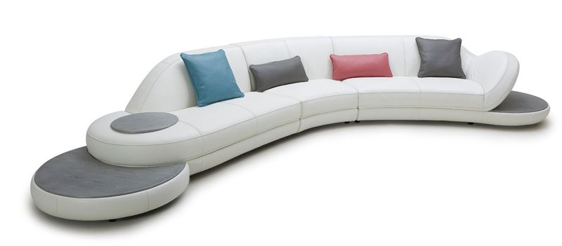 Divani Casa Jesse Modern White Leather Sectional