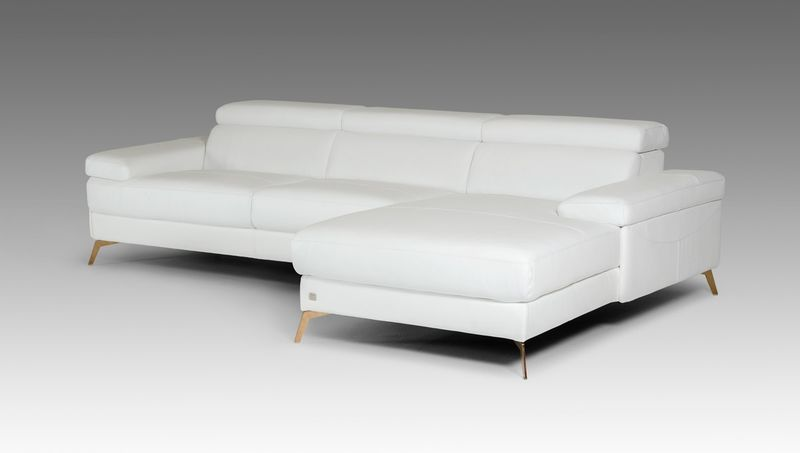 Divani Casa Kayla Modern White Italian Leather Sectional