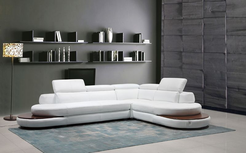 Divani Casa Killian Modern White Italian Leather Sectional