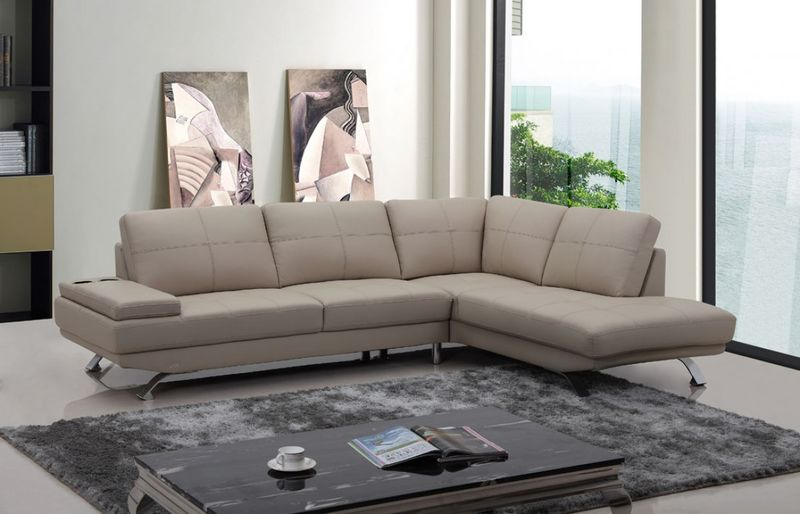 Divani Casa Knight Modern Beige Leather Sectional