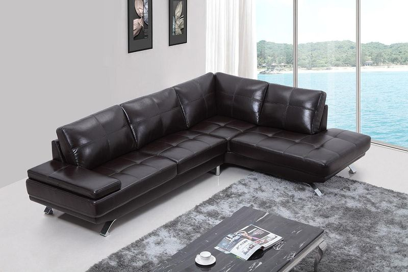 Divani Casa Knight Modern Brown Leather Sectional