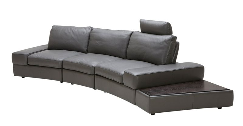 Divani Casa Lilac Grey Italian Leather Sectional