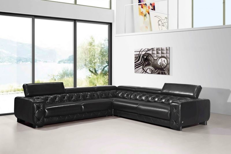 Divani Casa Lyon Modern Black Italian Leather Sectional