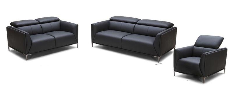 VIG | VGKK5167B-SET-BLK Divani Casa Madden Modern Black Leather Sofa Set |  Dallas Designer Furniture
