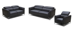 Divani Casa Madden Modern Black Leather Sofa Set