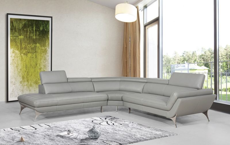 Divani Casa Modern Grey Leather Sectional Sofa