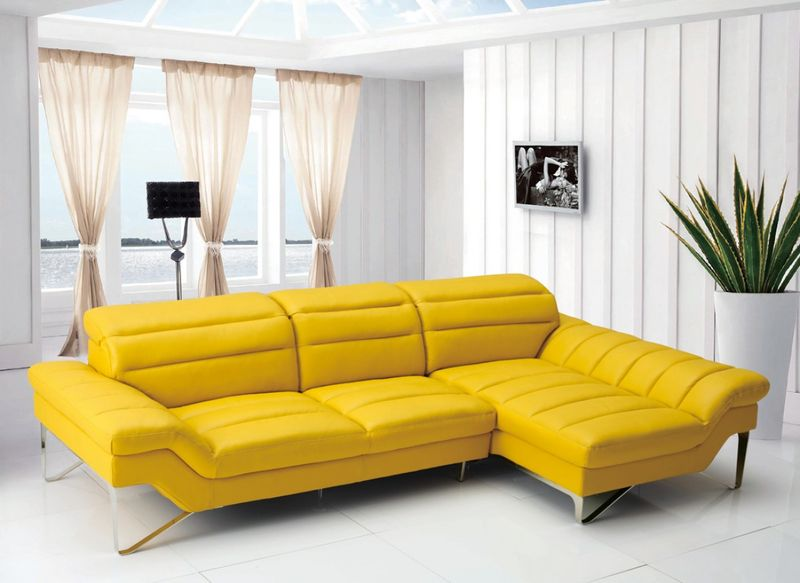 Divani Casa Modern Yellow Leather Sectional Sofa