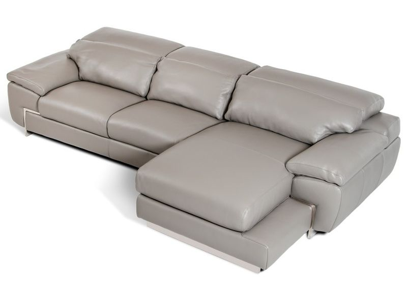 Divani Casa Molino Modern Grey Leather Sectional Sofa