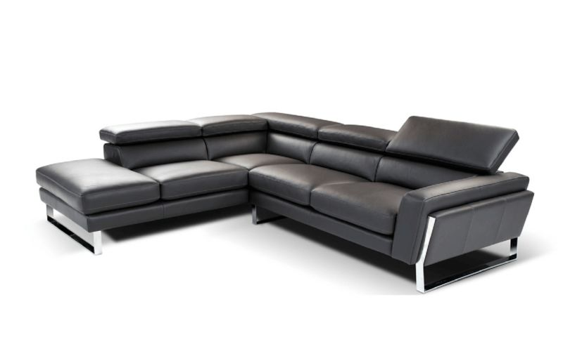 Divani Casa Napoli Black Italian Leather Sectional