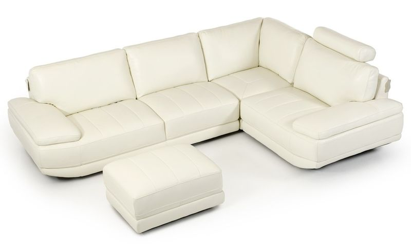 Divani Casa Nelson Modern White Leather Sectional with Ottoman