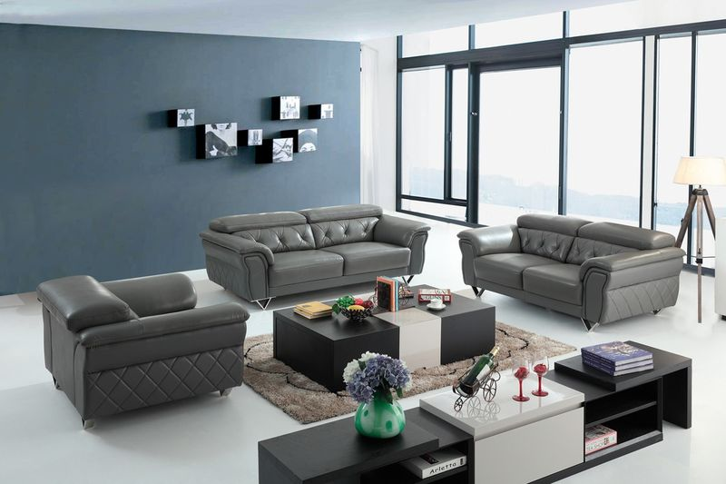 Dallas Designer Furniture | Divani Casa Perry Modern Grey Leather ...