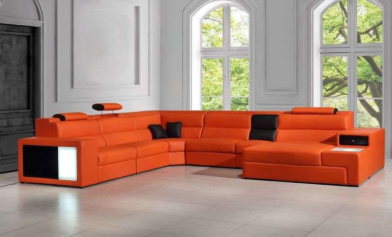 Divani Casa Polaris Modern Orange Leather Sectional