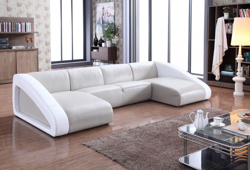Divani Casa Pratt Modern Grey & White Leather Sectional Sofa