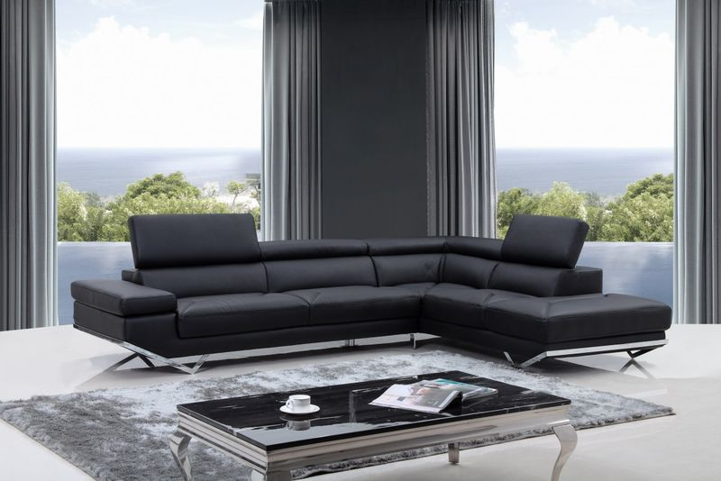 Divani Casa Quebec Modern Black Sectional