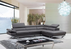 Divani Casa Quebec Modern Dark Grey Sectional