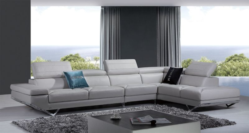 Divani Casa Quebec Modern Light Grey Italian Leather Sectional