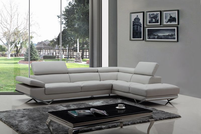 Divani Casa Quebec Modern Grey Sectional