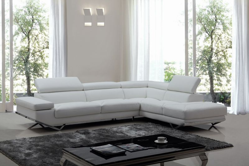 Divani Casa Quebec Modern White Sectional