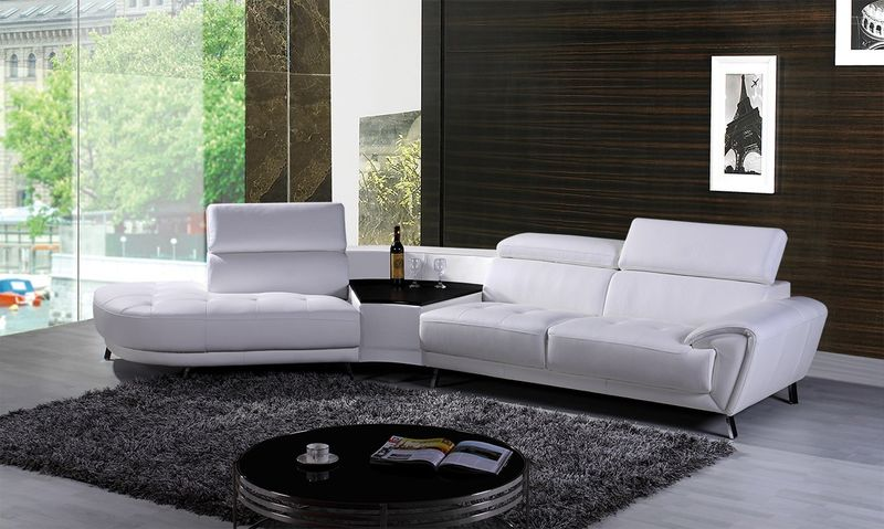Divani Casa Raizel Modern White Leather Sectional with Left Facing Chaise